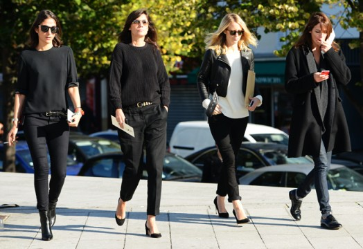 Black Wool Jumpers and Black Cigarette Pants seen at Paris Fashion Week and snapped by Tommy Ton
